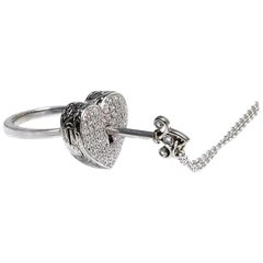 18kt White Gold, 0.37 Carat Diamond, Heart Locket Ring