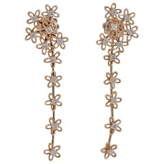 Diamonds Rose and Yellow Gold Earrings