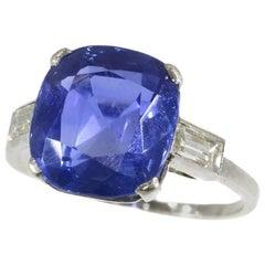 Certified 6.8 Carat Untreated Sapphire Platinum Engagement Ring