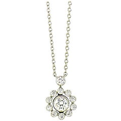 TIFFANY & CO. Diamonds Halo Flower Pendant Necklace in Platinum