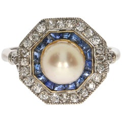 Natural Pearl and Diamond and Sapphire Platinum Ring, circa 1910