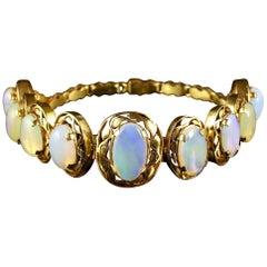Antique Victorian Opal Bracelet 18 Carat Silver, circa 1900