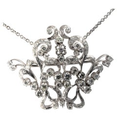 Midcentury Vintage Garland Intricated Open Work Diamond Necklace and Brooch