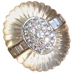 Gemlok 18 Karat Gold Rock Crystal Carat 2.75 Carat VS Diamond Cocktail Ring