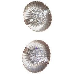 Gemlok 18 Karat Gold Rock Crystal Carat 5.00 Carat VS Diamond Earrings