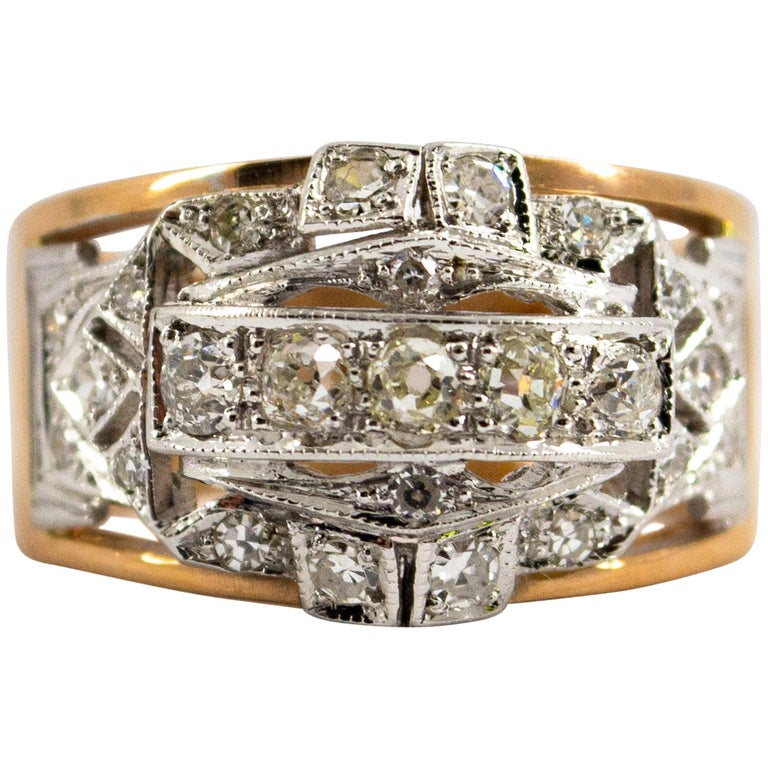 Renaissance Style 0.75 Carat White Diamond Yellow Gold Ring