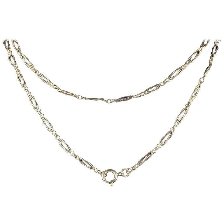 Antique Victorian Fancy French Guard Chain 18 Carat Silver, circa 1900
