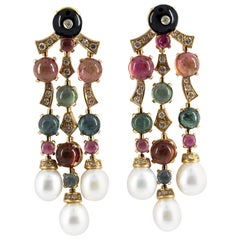 21.80 Carat Tourmaline 1.05 Carat Diamond Onyx Pearl Yellow Gold Drop Earrings