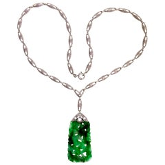 GIA Certified Jadeite Jade Natural Platinum Gold Pendant Necklace