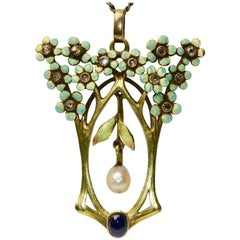 18 Karat Art Nouveau Pendant, Enhancer with Enamel, Diamonds, Pearl and Sapphire