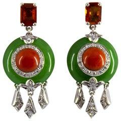 Mediterranean Red Coral 2.10 Carat Sapphire Jade Diamond White Gold Earrings