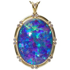 14 Karat Gold, Large Opal Pendant, Enhancer, Set with 17 Diamonds
