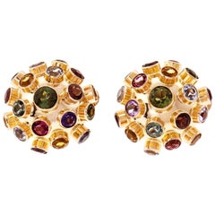 Sputnik Tourmaline Aqua Amethyst Citrine Garnet Domed Gold Earrings