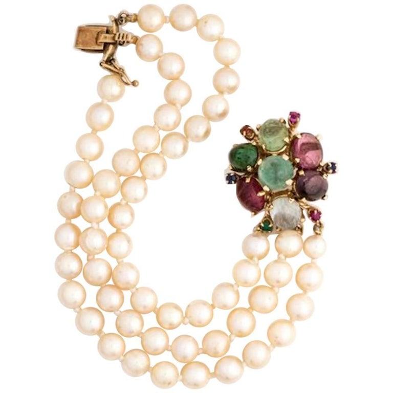 1950s Pearl and Multi Gemstone Bracelet