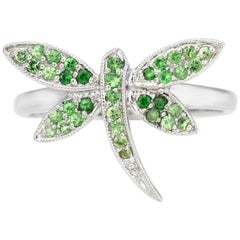 Dragonfly Ring Tsavorite Green Garnet Estate 14 Karat White Gold