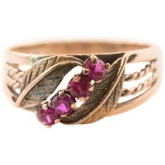 1920 Art Deco Ruby and 14 Karat Rose Gold Engagement Ring