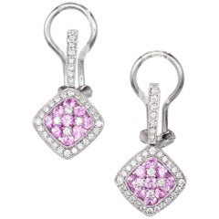 Gregg Ruth 1.33 Carat Pink Sapphire Diamond Cluster Gold Dangle Earrings