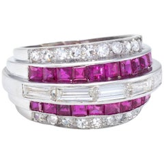 Art Deco Diamond Calibre Cut Ruby Band Ring Vintage Platinum