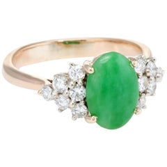 Jade Diamond Cocktail Ring Vintage 14 Karat Yellow Gold