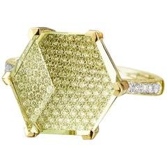 18 Karat Gold Lemon Citrine 7.00 Carat and Diamond Brillante Valentina Ring