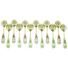 Set of 12 Russian Silver Gilt and Enamel Spoons by Khlebnikov for Tiffany & Co.