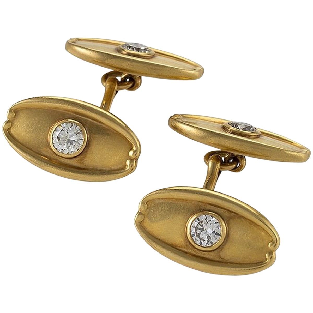 Antique Tiffany & Co. Diamond and Gold Cuff Links