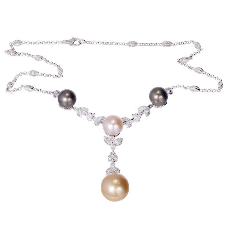1.21 Carat Diamond South Sea Cultured Pearl Gold Drop Necklace
