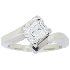 Bypass Emerald Cut Diamond Ring