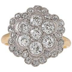 Edwardian Diamond Platinum and Gold Cluster Ring