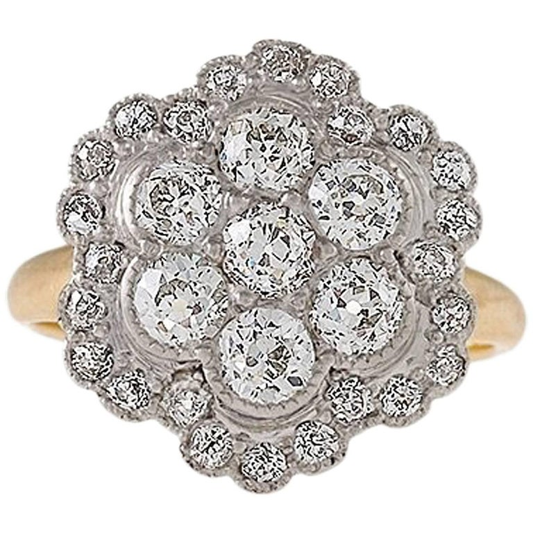 Edwardian Diamond Platinum and Gold Cluster Ring