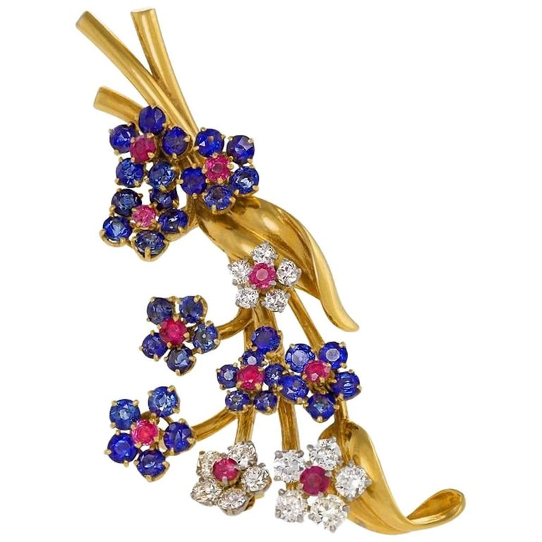 "Van Cleef & Arpels Diamond Ruby Sapphire and Gold ""Hawaii"" Brooch"