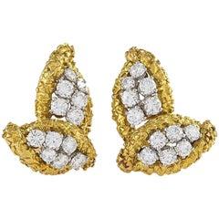 Boucheron Paris 1960s Diamond Gold and Platinum Leaf Earrings
