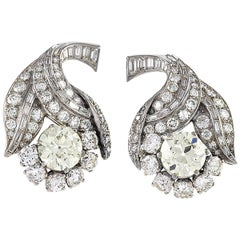 Art Deco Diamond and Platinum Flower Earrings
