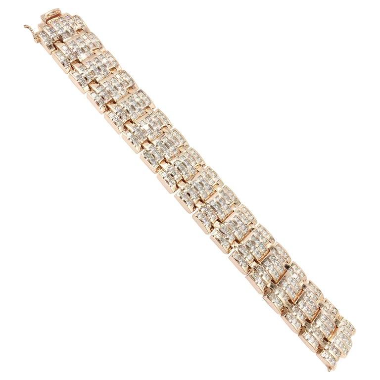 18 Karat Rose Gold Wide Diamond Link Bracelet 34 Carat Total Weight