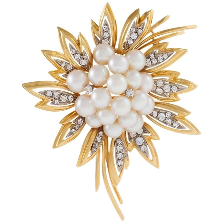 Tiffany & Co. Diamond Pearl Platinum and Gold Flower Brooch