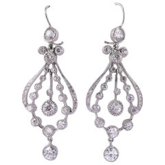 Art Deco Diamond Chandelier Earrings with 7.30 Carat of Diamonds
