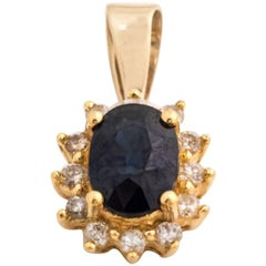 1960s Sapphire and Diamond 14 Karat Yellow Gold Pendant