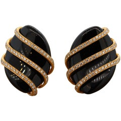 Black Onyx Diamond Gold Earrings