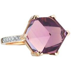 18 Karat Rose Gold Amethyst 7.13 Carat Brillante Valentina Ring