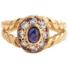 1960s 0.25 Carat Sapphire and 0.80 Carat Diamond 18 Karat Yellow Gold Ring