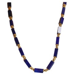 Lapis Columns with Gold Beads Necklace