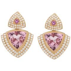 18 Karat Gold, 12.14 Carat Morganite, 1.52 Carat Diamond Drop Earrings