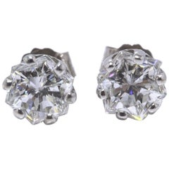 Octagon 1.53 Carat G-H VS2 Diamond Stud Earrings in 14 Karat White Gold