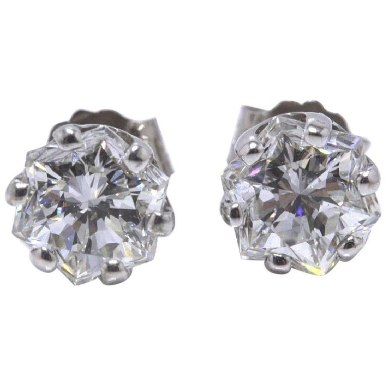 Octagon 1.53 Carat G-H VS2 Diamond Stud Earrings in 14 Karat White Gold