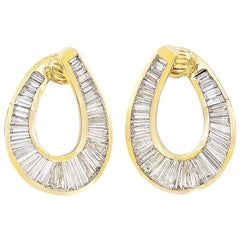 7.18 Carat Diamond and Gold Hoop Clip-On Earrings