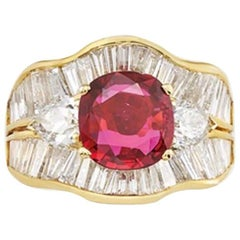 2.10 Carat Ruby, Diamond and Gold Ring