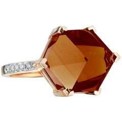 18 Karat Yellow Gold Citrine 6.95 Carat Brillante Valentina Ring