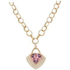 18 Karat Gold, 11.71 Carat Morganite, 1.14 Carat Diamond Link Necklace