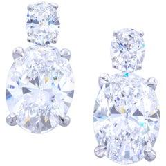 David Rosenberg 10.04 Total Carat Oval D/VS1 Platinum GIA Diamond Drop Earrings