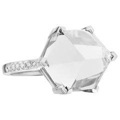 18 Karat White Gold White Topaz 6.95 Carat Brilliant Valentina Ring